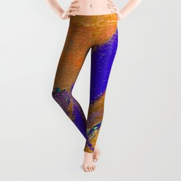 Blue Yellow Abstract Contemporary Colorful Boho Art Leggings