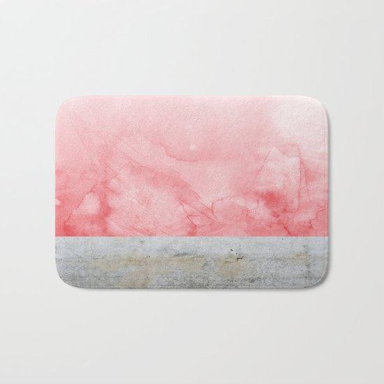 Concrete and Pink Bath Mat