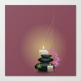 Pebbles with orchid Canvas Print
