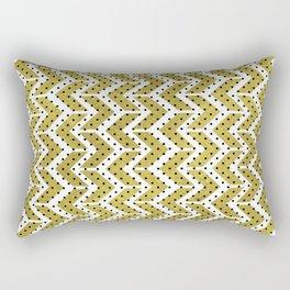 White & Gold Arrow Pattern with Black Polka Dots Rectangular Pillow