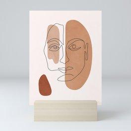 Abstract Line Art Face I Desert Mini Art Print