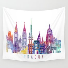 Prague skyline landmarks in watercolor Wall Tapestry