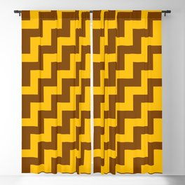 Amber Orange and Chocolate Brown Steps RTL Blackout Curtain