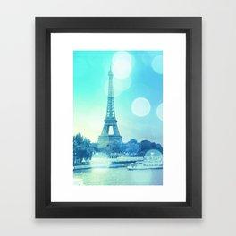 Paris Bokeh Aqua Framed Art Print