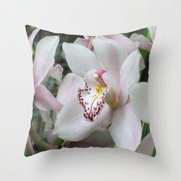 Cymbidium Orchid Close-up Throw Pillow