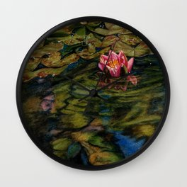 Water Lily Nestled in Magical Reflections Wall Clock