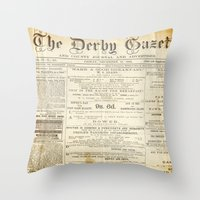 newspaper Throw Pillows featuring Newspaper by Caroline K