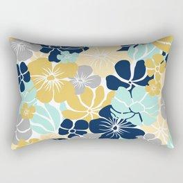 Festive, Floral Prints, Yellow, Navy, Aqua, Gray Rectangular Pillow