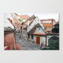 Street life in Transylvania Canvas Print