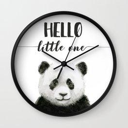 Panda Art Print Baby Animals Hello Little One Nursery Decor Wall Clock