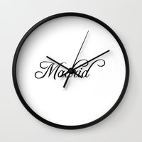 real madrid Wall Clocks featuring Madrid by Blocks & Boroughs
