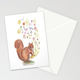 SAXOPHONE SQUIRREL  Music Musical Child's bedroom Present Boy Girl Baby Cure Art Nursery Art Pencil  Stationery Cards