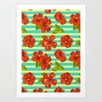 Summer Red Hibiscus Seamless Pattern Art Print