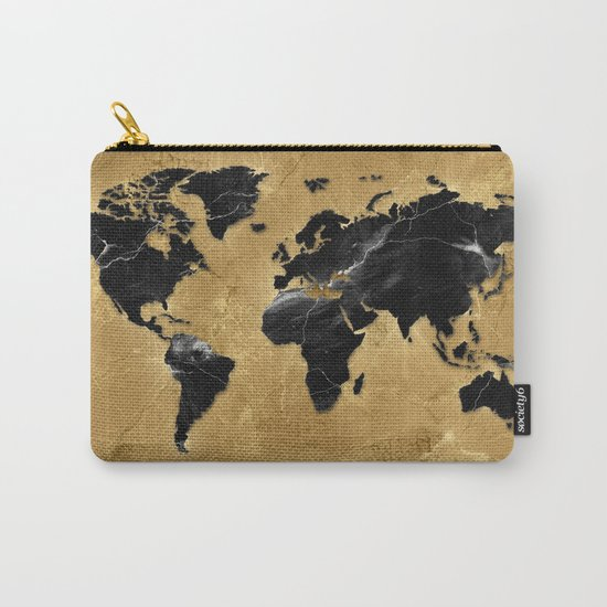 world map marble gold 2 Carry-All Pouch
