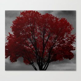 Red Tree, Grey Sky Canvas Print