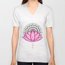 Pink Lotus Mandala Unisex V-Neck