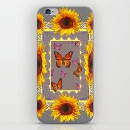 Southwestern Style Sunflowers Butterflies  Grey Ranch Design iPhone Skin