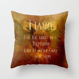 FLAME for the birth of a Nephilim and to wash away our sins. Shadowhunter Children's Rhyme. Throw Pillow