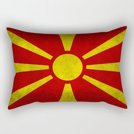 "Flag of Macedonia in ""Super Grunge"" Rectangular Pillow"