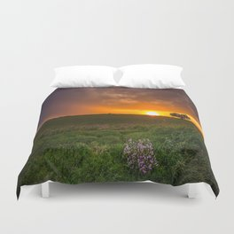 Autumn Sunset - Flowers and Tree on Oklahoma Plains Duvet Cover