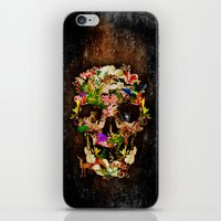animal skull iPhone & iPod Skins featuring Floral Flower animal skull kingdom by KomarWork