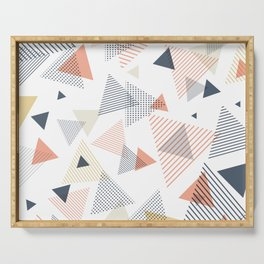 Abstract Modern Blue, Orange, Yellow Triangles Pattern Serving Tray