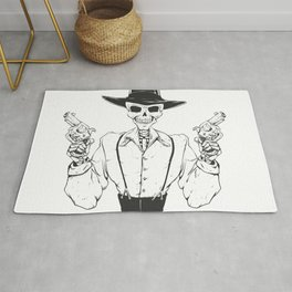 Gangster skull - grim  reaper cartoon - black and white Rug