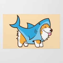 Corgi in a Shark Suit Rug