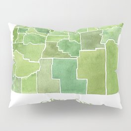 Oregon Counties watercolor map Pillow Sham
