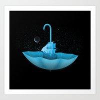 The Umbrella Boat Art Print