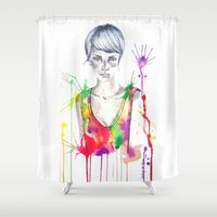 acid Shower Curtains featuring acid by Lua Fraga
