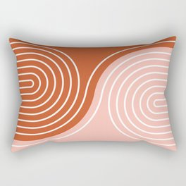Geometric Lines in Terracotta Rose Gold 19 (Rainbow and Lines Abstraction) Rectangular Pillow