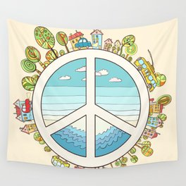 peaceful bright Pacific planet Wall Tapestry