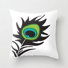 Teal Peacock Throw Pillow
