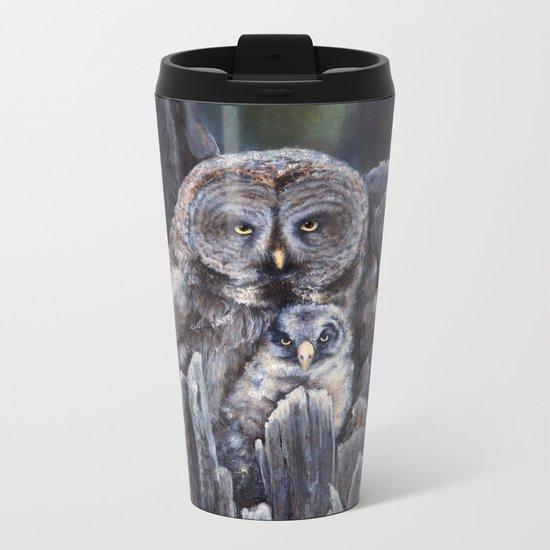 Wood  -  Owls Metal Travel Mug