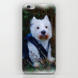 White rabbit dog iPhone Skin