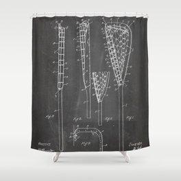 Lacrosse Stick Patent - Lacrosse Player Art - Black Chalkboard Shower Curtain