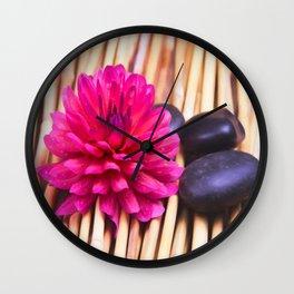 Zen Stones And Dahlia Wall Clock