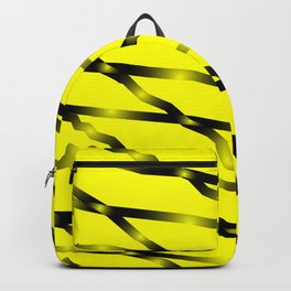 Slanting black lines and rhombuses on yellow with intersection of glare. Backpack