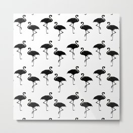 Flamingos Pattern Black and White II Metal Print