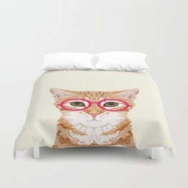 Ginger - Cute cat with glasses hipster cat art for dorm college decor funny cat lady meme Duvet Cover