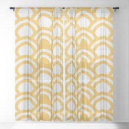 Yellow & White Half Circle Pattern Sheer Curtain
