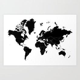 Minimalist World Map Black on White Background Art Print