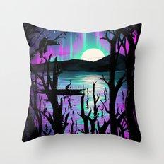 Night With Aurora Throw Pillow