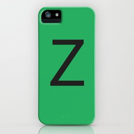 Letter Z Initial Monogram - Black on Nephritis iPhone Case