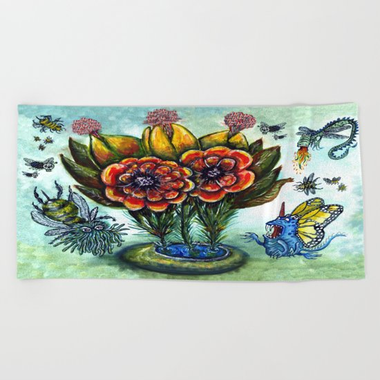 Surreal watercolor flowers and bugs Beach Towel