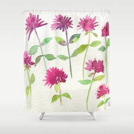 Bee Balm Watercolor Shower Curtain