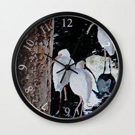 Ibises Under a Bridge (revamped) Wall Clock