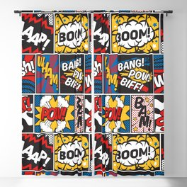 Modern Comic Book Superhero Pattern Color Colour Cartoon Lichtenstein Pop Art Blackout Curtain