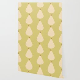 Minimal Pear Fruit - Green Wallpaper